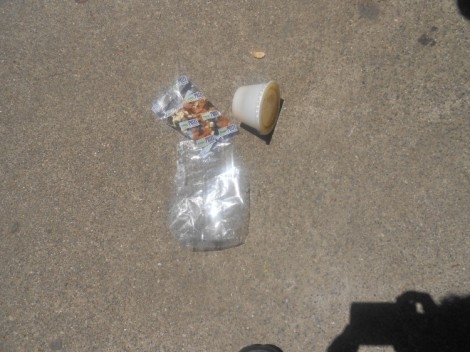 Trash at lunch in quad.